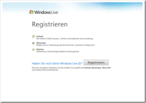Windows Live Hotmail - Startbildschirm
