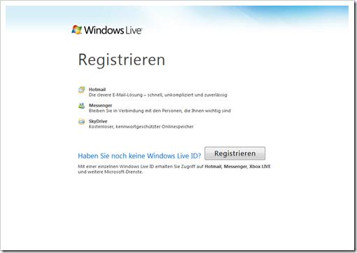 Windows Live Hotmail - Startbildschirm