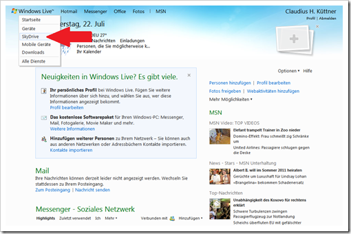 Windows Live Hotmail - SkyDrive