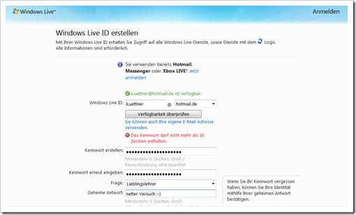 Windows Live Hotmail - Live ID erstellen 1