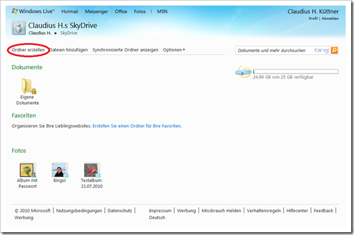 Windows Live Hotmail - SkyDrive - Ordner erstellen