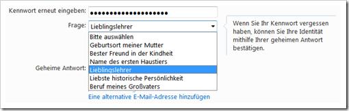 Windows Live Hotmail - Widerherstellungsoptionen für vergessenes Passwort