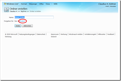 Windows Live Hotmail - SkyDrive - Neuer Ordner
