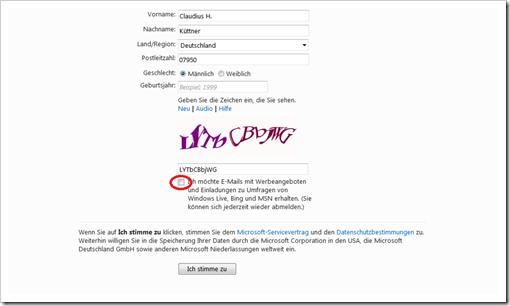 Windows Live Hotmail - Live ID erstellen 2