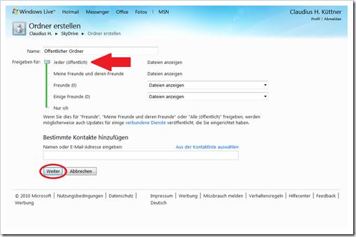 Windows Live Hotmail - SkyDrive - Verwalten der Berechtigungen
