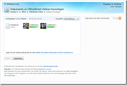 Windows Live Hotmail - SkyDrive - Hochladen 1