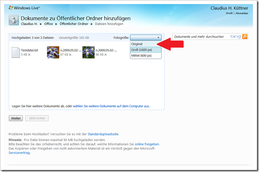 Windows Live Hotmail - SkyDrive - Hochladen - Fotogröße