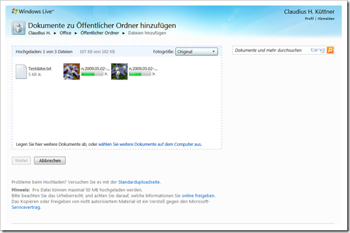 Windows Live Hotmail - SkyDrive - Fotogröße ändern