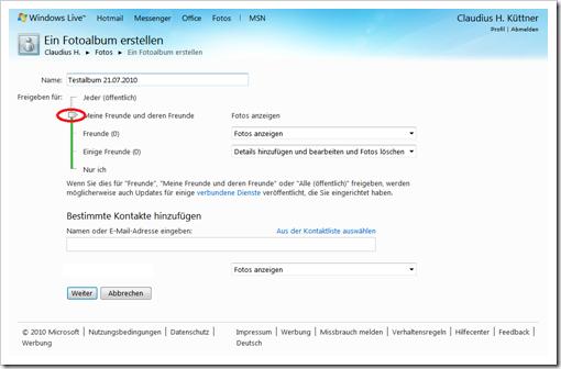 Windows Live Hotmail - Berechtigungen fü das Album einstellen