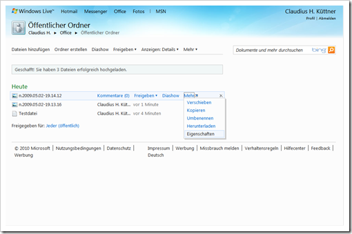 Windows Live Hotmail - SkyDrive - Öffentlicher Ordner 1