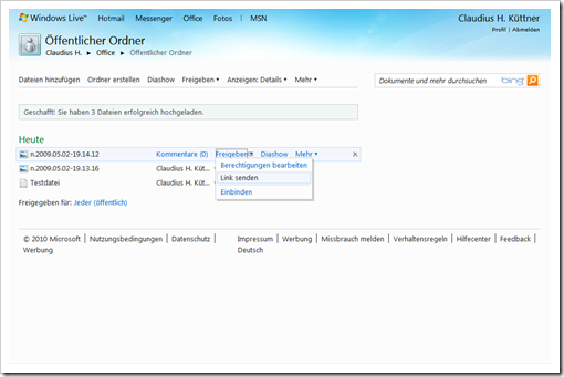 Windows Live Hotmail - SkyDrive - Öffentlicher Ordner 2