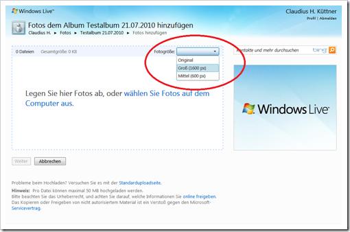 Windows Live Hotmail - Größe der Bilder auswählen
