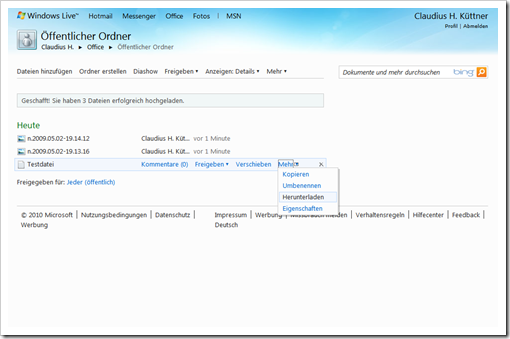 Windows Live Hotmail - SkyDrive - Öffentlicher Ordner 3
