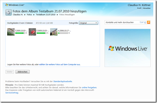 Windows Live Hotmail - Bilder hochladen