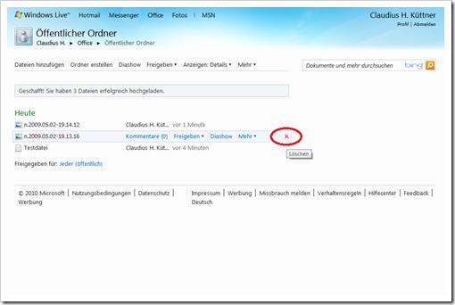 Windows Live Hotmail - SkyDrive - Öffentlicher Ordner - Datei löschen
