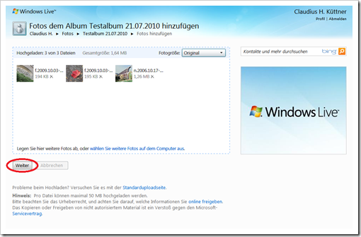 Windows Live Hotmail - alle Bilder sind hochgeladen