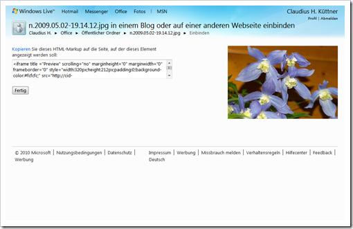Windows Live Hotmail - SkyDrive - Öffentlicher Ordner  - Link einbinden