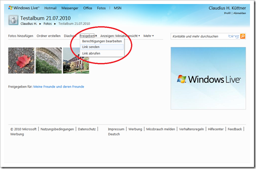 Windows Live Hotmail - Link zur Galerie verschicken