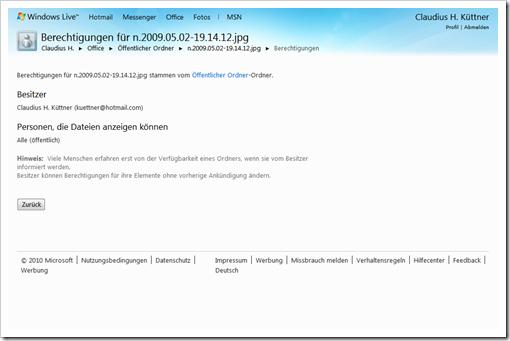 Windows Live Hotmail - SkyDrive - Öffentlicher Ordner - Berechtigungen