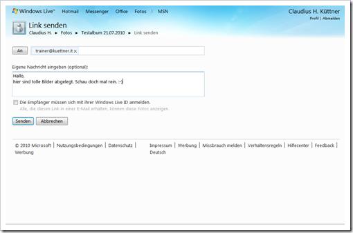 Windows Live Hotmail - Mail mit Link zur Galerie schreiben