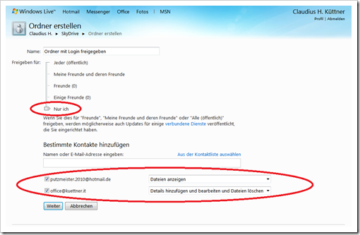 Windows Live Hotmail - SkyDrive - mit Login freigegebener Ordner