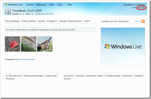 Windows Live Hotmail - die erste Galerie