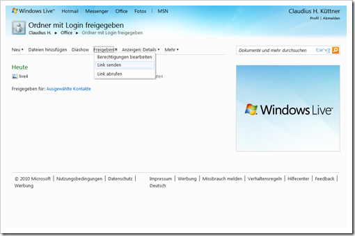 Windows Live Hotmail - SkyDrive - mit Login freigegebener Ordner  - Link senden 1