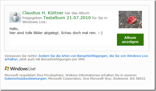 Windows Live Hotmail - Mail mit Link zur Galerie