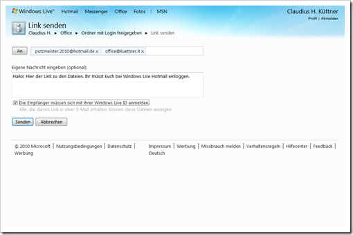 Windows Live Hotmail - SkyDrive - mit Login freigegebener Ordner  - Link senden 2