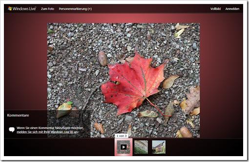 Windows Live Hotmail - die Galerie wie sie sie Ihre Freunde sehen