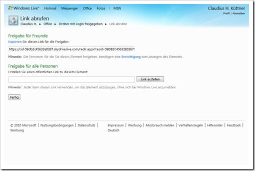 Windows Live Hotmail - SkyDrive - mit Login freigegebener Ordner - Link abrufen