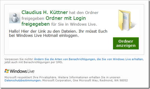 Windows Live Hotmail - SkyDrive - mit Login freigegebener Ordner Windows Live Hotmail - SkyDrive - Mail