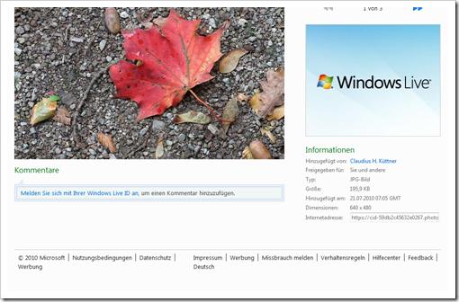Windows Live Hotmail - Einzeleigenschaften eines Bildes 2