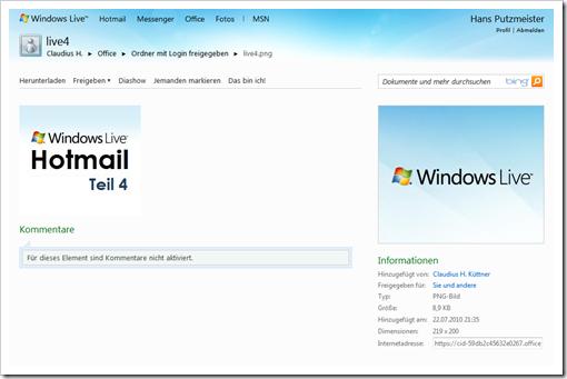 Windows Live Hotmail - SkyDrive - Benutzeransicht Hans Putzmeister