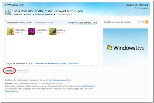 Windows Live Hotmail - Bilder hochladen