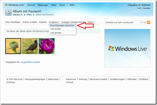 Windows Live Hotmail - Berechtigungen einstellen