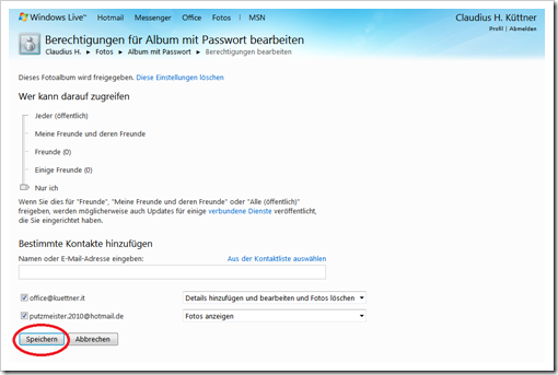 Windows Live Hotmail - Berechtigungen festlegen