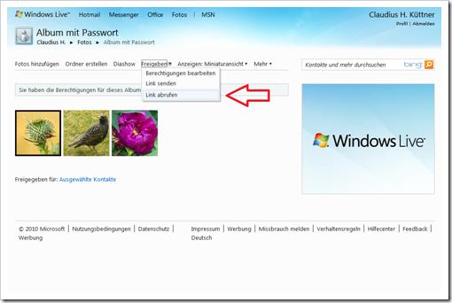 Windows Live Hotmail - geheimer Link zur Galerie