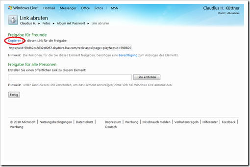 Windows Live Hotmail - geheimen Link kopieren