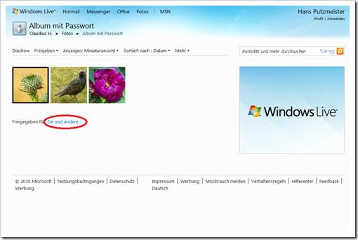 Windows Live Hotmail - Freigabeberechtigungen anzeigen