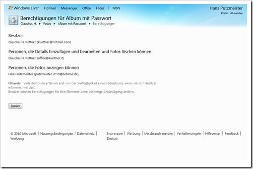 Windows Live Hotmail - Berechtigungen