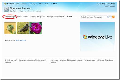 Windows Live Hotmail - meine Galerieansicht