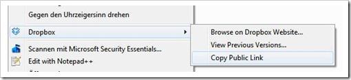 Dropbox - Optionen für Dateien