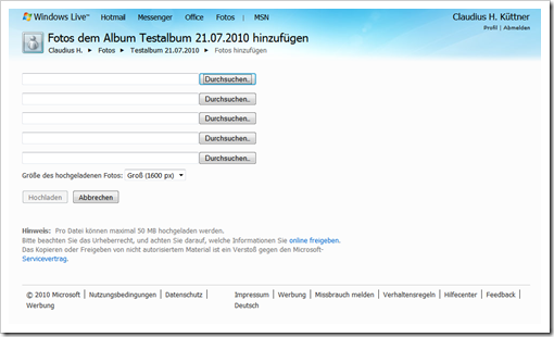 Windows Live Hotmail - Bilder mit dem Firefox hochladen