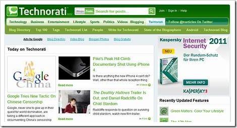 Technorati-Startseite