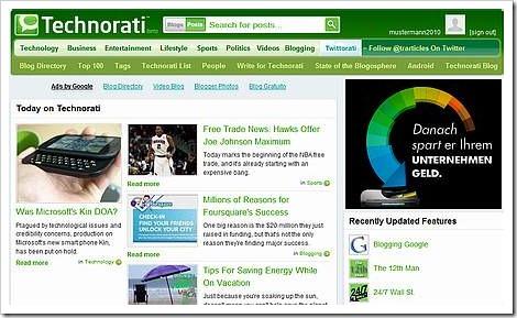 Technorati Startseite - Benutzer ist angemeldet
