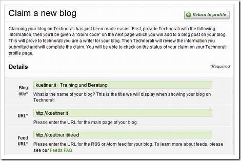 Dialog um die Daten Ihres Blogs einzutragen