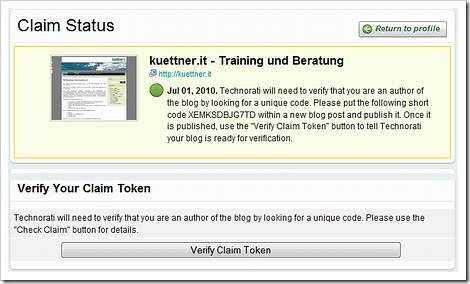 Überprüfen des Blog mittels Aktivierungscode