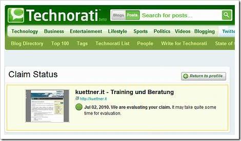 Claim Status - Blog zur Überprüfung angemeldet