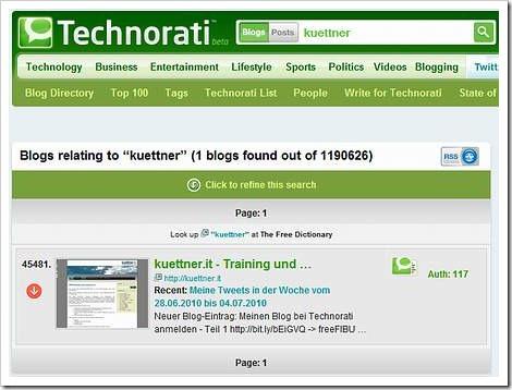Stand: 4. Juli 2010 - Platz 45.481 von 1.190.626 Blogs